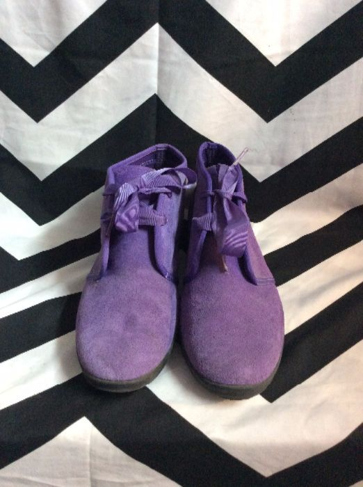 PURPLE KEDS SUEDE RIBBON LACEUP SHOES 1