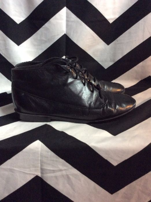 MUNRO BLACK LACE LEATHER SHOES 2