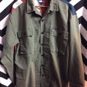 LS BD Tommy Jeans Military front with american flag back 1