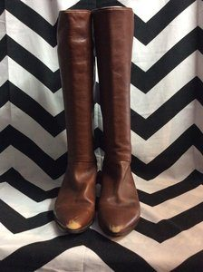 BROWN SOFT LEATHER TALL FLAT PIXIE BOOTS 1