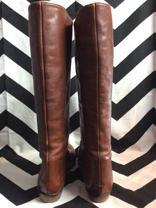 BROWN SOFT LEATHER TALL FLAT PIXIE BOOTS 3