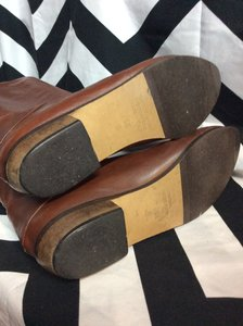 BROWN SOFT LEATHER TALL FLAT PIXIE BOOTS 4