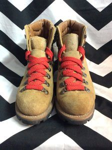 SUEDE TRAILBREAKERS BROWN WORK BOOTS W/ RED LACES 1