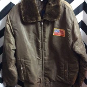 FAUX FUR NYLON MILITARY STYLE BOMBER JACKET 1