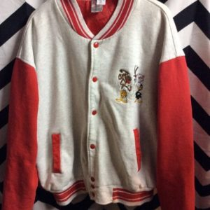 COTTON RED & GREY BASEBALL JACKET NYPD LOONEY TOONES 1