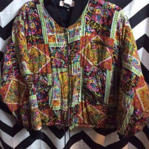 90S QUILTED TEXTILE PRINT BOMBER JACKET CROPPED 1