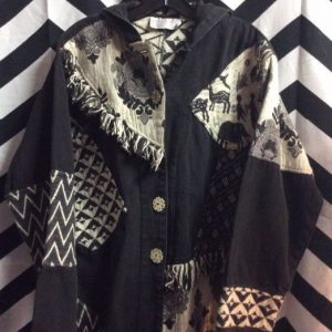 HOODED ETHNIC BLACK & WHITE PATCHWORK JACKETS 1