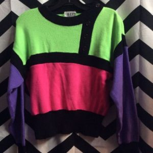 LS PULLOVER NEON COLOR BLOCK SWEATER SMALL FIT 1