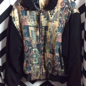 Sparkly woven tapestry jacket with velvet arms 1