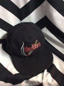 Black Marlboro hat burning cigarette logo strapback 1