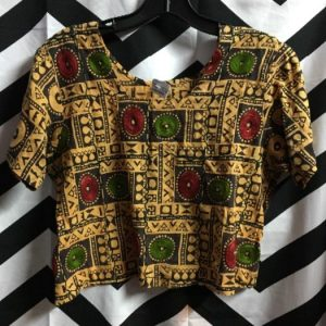 SS cropped ETHNIC PRINT TOP W/ EMBROIDERY 1