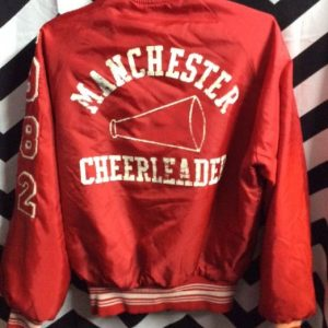 1982 CHEERLEADERS JACKET VARSITY PATCHES SMALL FIT FUZZY LINING 1