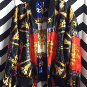 REVERSIBLE SILKY BAROQUE PRINT BOMBER JACKET 1