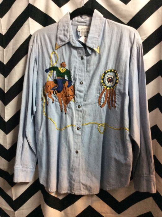 LS BD CHAMBRAY SHIRT WESTERN EMBROIDERY 1