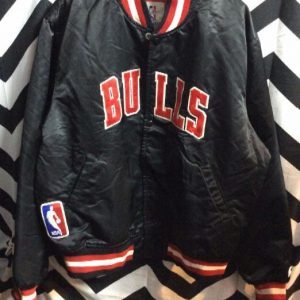 Chicago Bulls Black Satin Stater Jacket 1