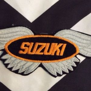 LARGE BACK PATCH- SUZUKI W/ WINGS ORANGE GREY 1