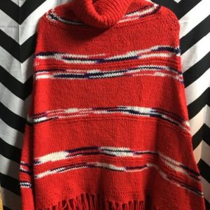 PULLOVER TURTLE NECK KNITTED PONCHO as-is 1