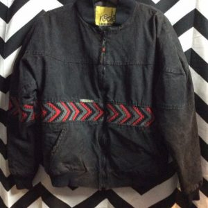Blk Cotton Bomber Style Jacket w/Red Aztec Strippes 1