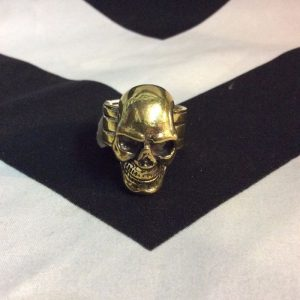 SOLID BRASS CASTED SKULL RING ADJ BAND 1