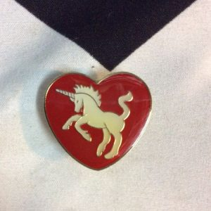 BW PIN- White Unicorn Inside Red Heart 1