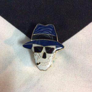 BW PIN- Skull w/ Panama Hat 1