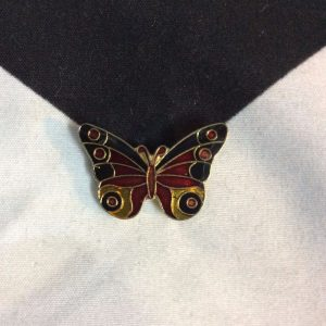 BW PIN- Classic Butterfly Orange Black 1