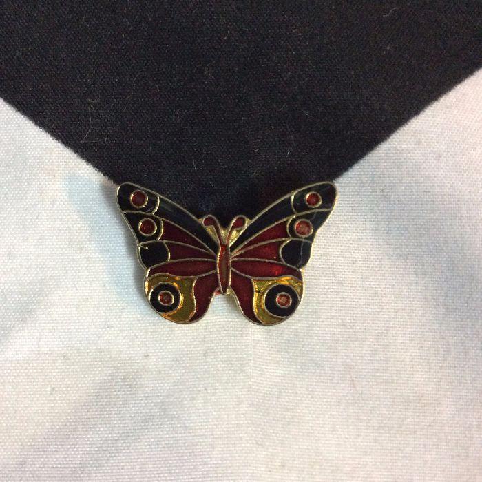 BW PIN- Classic Butterfly Orange Black 1