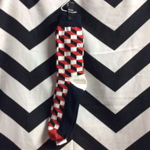 SOCKS CUBIST PRINT black, red, white 1