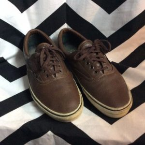 LEATHER LACEUP LOW TOP VANS CHOCOLATE BROWN 1