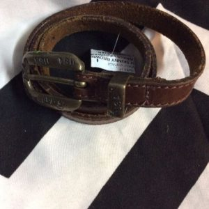SUPER SKINNY BROWN LEATHER BELT BRASS HARDWARE USA USA 1