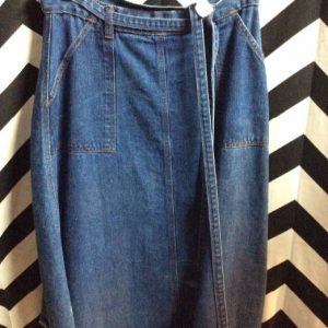 DENIM WRAP SKIRT W/ POCKETS 1