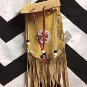 HAND MADE BUCK SKIN LEATHER POUCH W/ FRINGE 1
