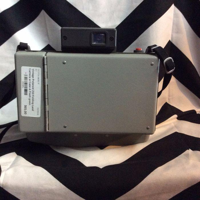 Vintage Polaroid 210 Folding Land Camera w Case & Flash 4