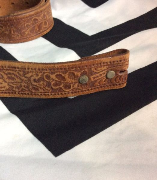 product details: VINTAGE EMBOSSED LEATHER BELT SOFT STRAP ONLY photo