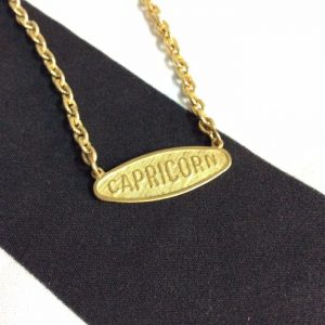 CAPRICORN NAME PLATE CHAIN NECKLACE SHORT 1