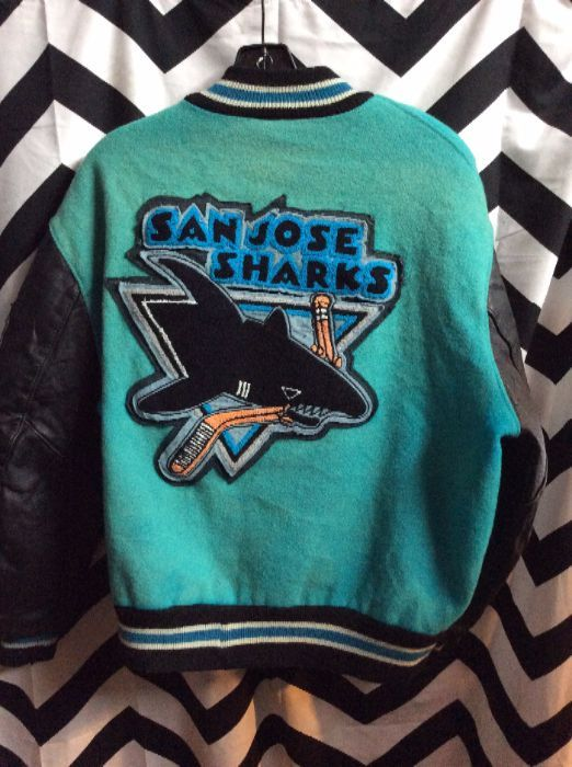 newest collection 16f06 b4ee1 VARSITY LETTERMAN JACKET - SAN JOSE SHARKS W/PATCHES