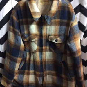 HEAVY WOOL SHERPA LINED ZIP UP FLANNEL JACKET as-is Lining ripped 1