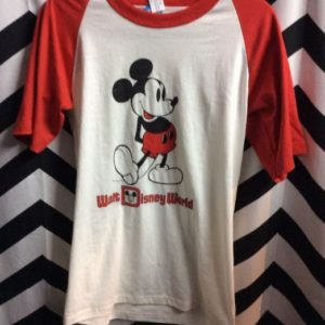 T SHIRT MICKEY MOUSE BASEBALL STYLE RED AND WHITE *deadstock 1