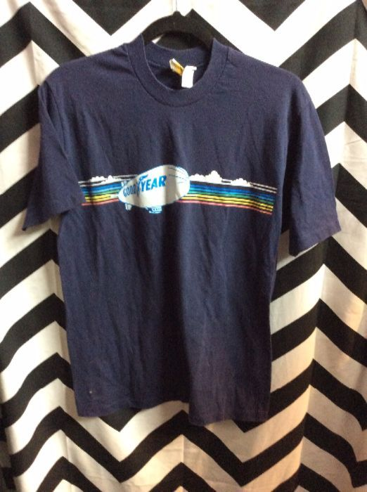 product details: RETRO GOODYEAR T-SHIRT W/RAINBOW & BLIMP DESIGN - SOFTY photo