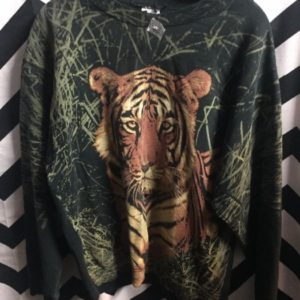 PULLOVER SWEATSHIRT TIGER FACE IN GRASS 1