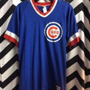 RETRO Chicago CUBS V-Neck Tshirt Jersey SMALL Fit 1