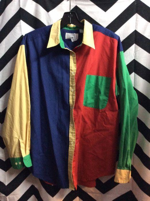 Vintage Color Block Blouse