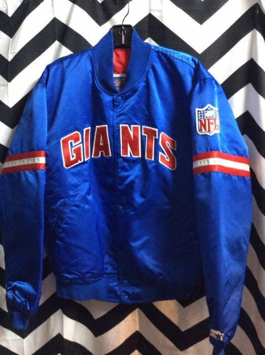big sale a7cdd 4ac35 BASEBALL STYLE JACKET - SATIN - NY GIANTS - NFL PATCH - STRIPED SLEEVES
