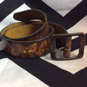 Brown Leather Belt w/ Flowers Butterfly Stamp 4K 1
