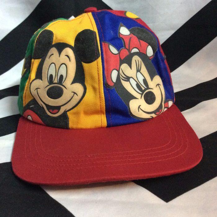 Baseball Cap Mickey Minnie Goofy Pluto Designs On Panels Boardwalk Vintage
