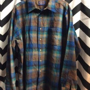 LS BD Wool Blue Green Plaid Pendleton 4K 1