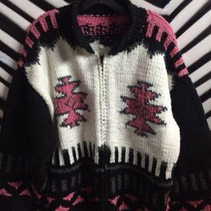 Chunky Knit Zipup Aztec Design Sweater 1