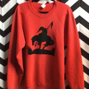 PULLOVER SWEATSHIRT HORSE & INDIAN SILHOUETTE 1