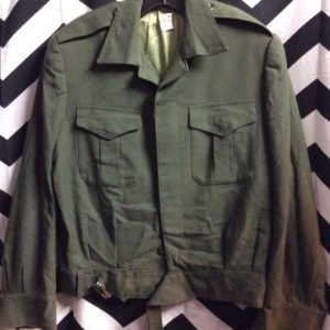 WOOL CROPPED BELTED MILITARY JACKET SATIN LINING 1
