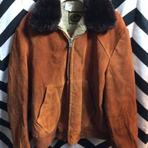 FULLY LINED SUEDE ZIPUP BOMBER JACKET SHERPA 1